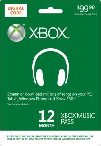 Abonnement 1 an XBOX Music Pass