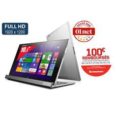 "Tablette 10"" Lenovo Miix 2 - Full HD - Intel Atom Z3740 - Windows 8.1 + Dock clavier (avec ODR 100€)"