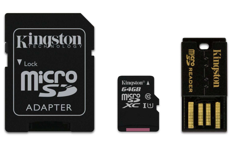 Carte mémoire micro SD Kingston 64 Go classe 10  + adaptateur + lecteur USB