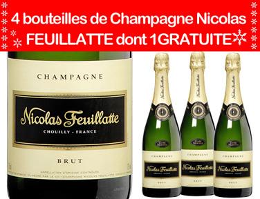 Lot de 4 bouteilles de Champagne Nicolas Feuillate