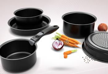 Lot de 3 casseroles, 2 poêles et une poignée amovible Battrinox  compatibles tous feux