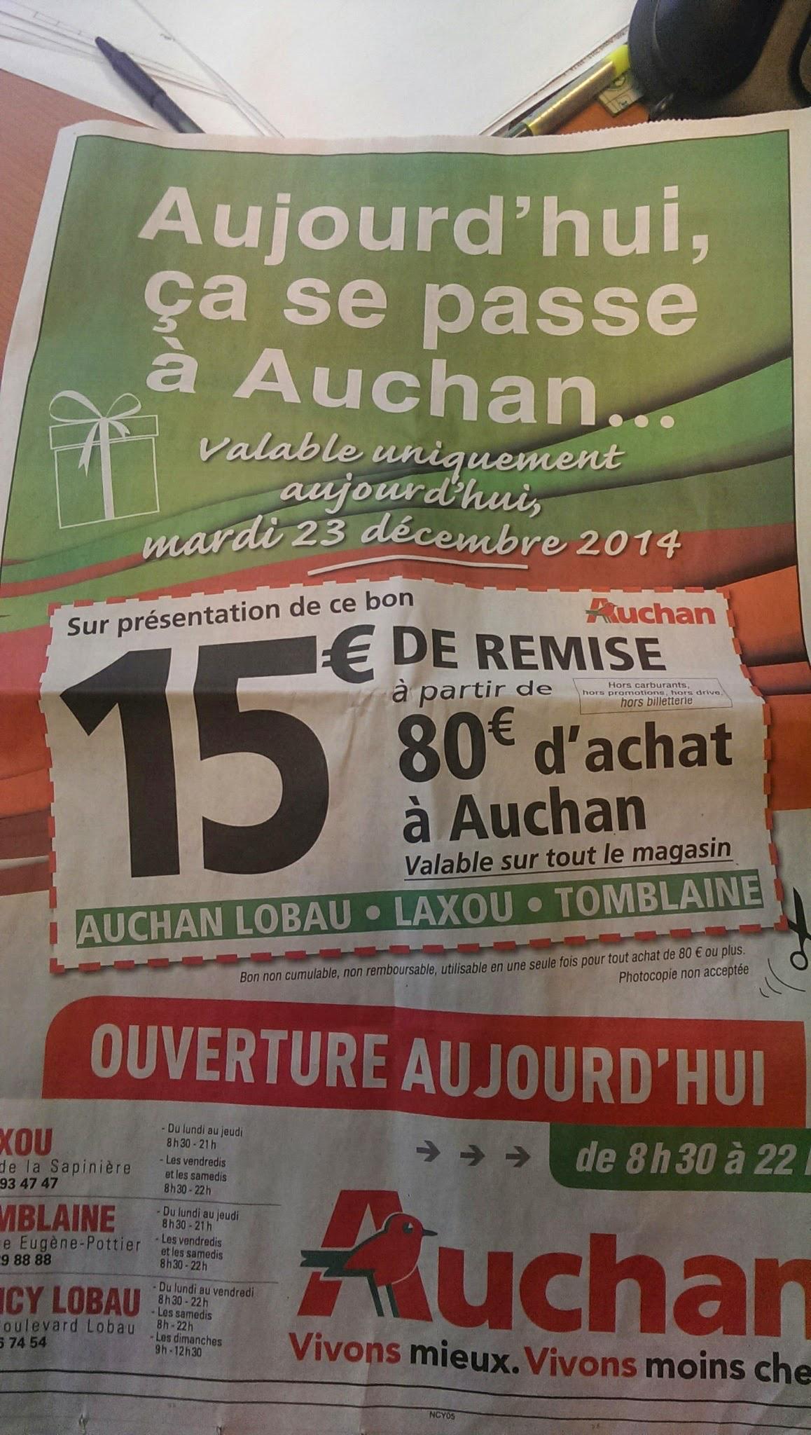 15€ de réduction dès 80€ d'achat à découper dans l'Est Republicain