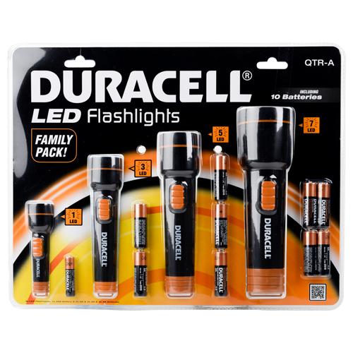 Lot de 4 lampes torches Duracell à LED, différentes tailles et piles fournies