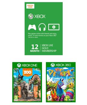 Abonnement Xbox Live Gold 12 mois + Zoo Tycoon Xbox One + Viva Pinata sur Xbox 360 (Dématérialisés)