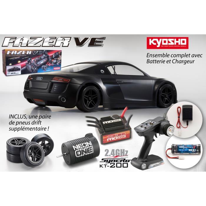 Voiture radiocommandée Kyosho Fazer VE Audi R8 Noir Mat