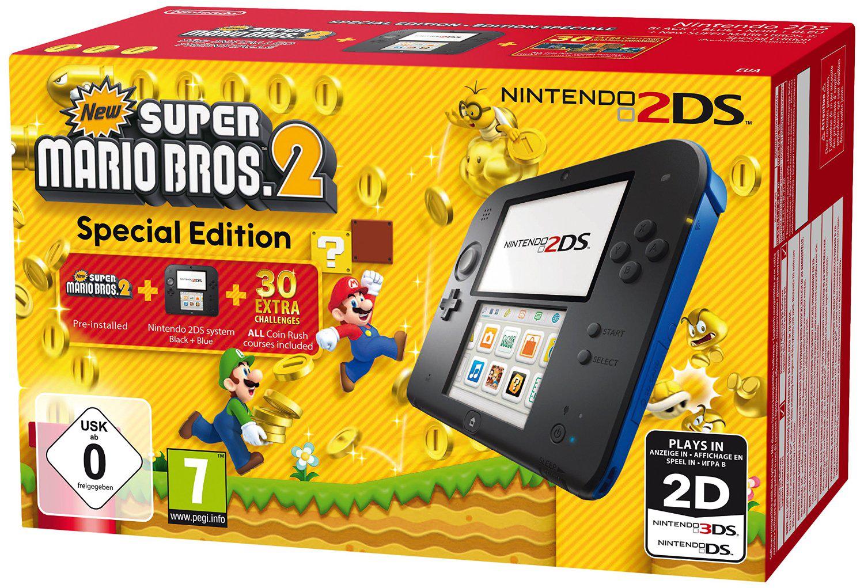 Pack Console Nintendo 2DS Noire/Bleue + New Super Mario Bros 2
