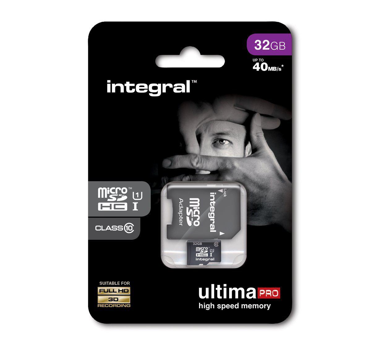 Carte MicroSDHC Integral UltimaPro 32Go Classe 10 (40 MB/s) + Adaptateur SD