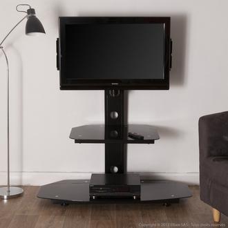 Sélection de meubles et chaises en promotion - Ex : Meuble TV avec fixation 2 niveaux métal / verre trempé