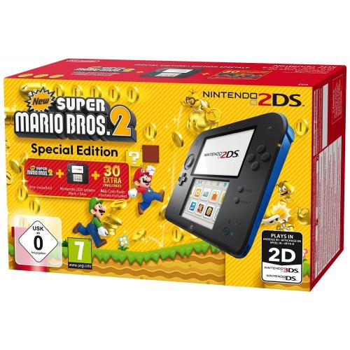 Console Nintendo 2DS - noire & bleue + New Super Mario Bros 2