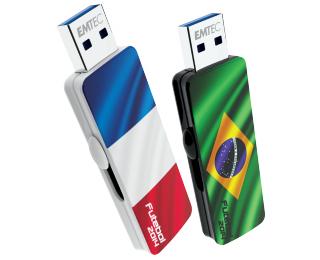 Lot de 2 clés USB France/Brésil - EMTEC - 8 Go + 8 Go soit 16 Go
