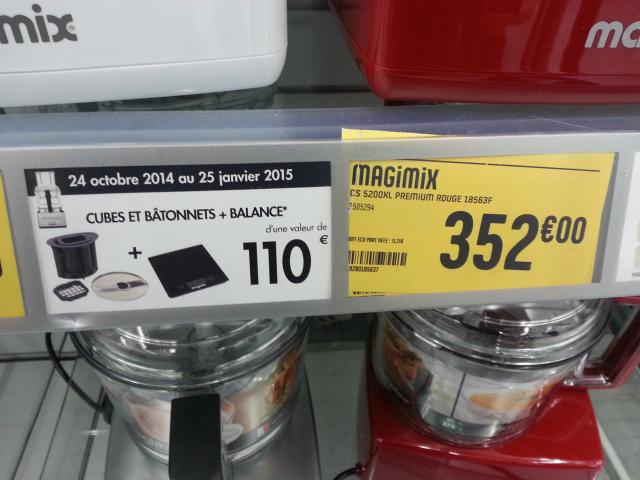 Robot multi-fonctions Magimix Cuisine Système 5200 XL Premium Rouge - 1100 W (+ Cube et bâtonnets et balance)