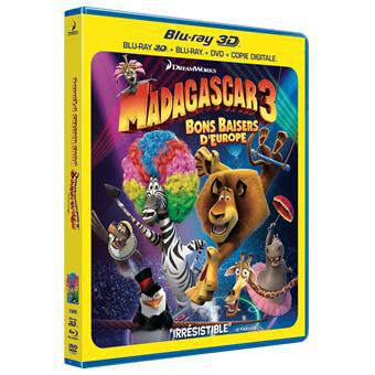 Combo Blu-Ray 3D + DVD Madagascar 3 : Bons baisers d'Europe - Inclus les Versions 2D /3D et copie digitale