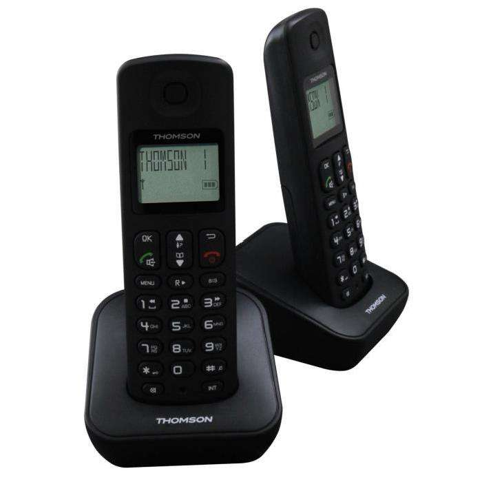 t l phone r pondeur thomson dect duo 2 combin s noir. Black Bedroom Furniture Sets. Home Design Ideas