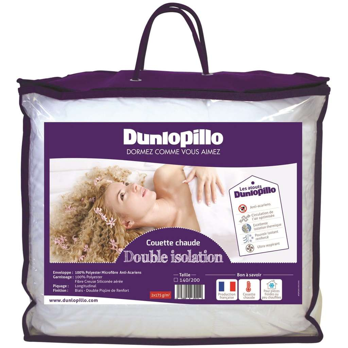 couette chaude microfibre dunlopillo double isolation 240x260cm. Black Bedroom Furniture Sets. Home Design Ideas