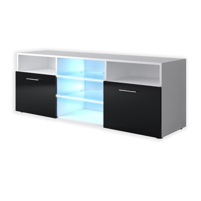 Meuble tv contemporain kora 150cm blanc et noir brillant for Meuble tv noir brillant
