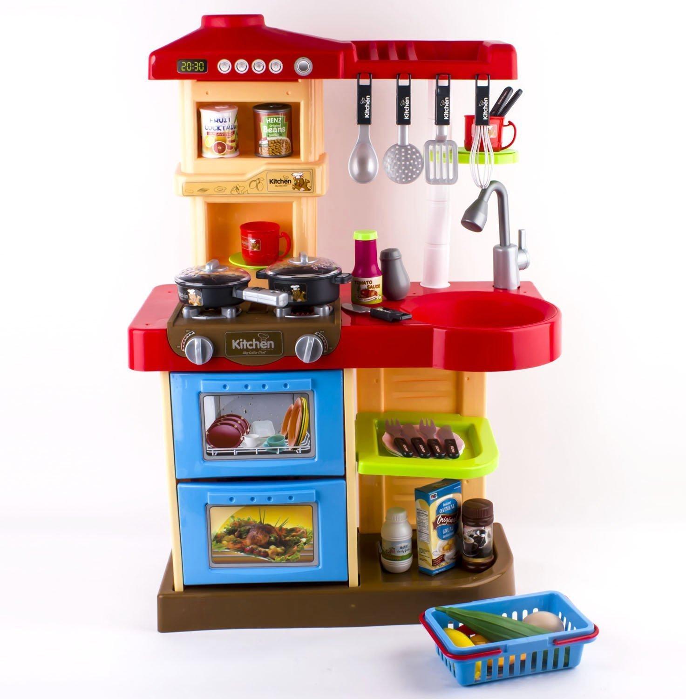 Cuisine de luxe pour enfant 30 accessoires rose ou rouge for Vendeur cuisine