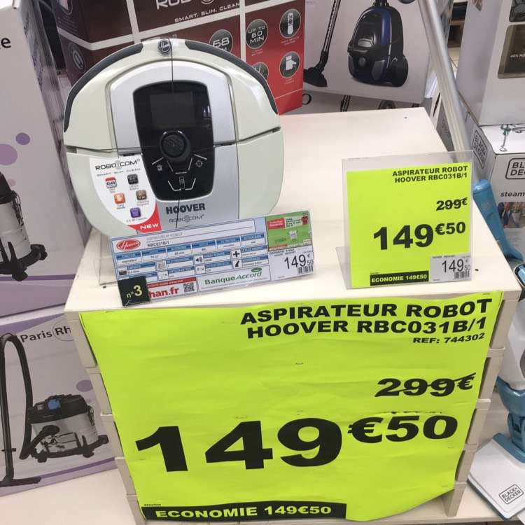 aspirateur robot hoover rbc031b 1 auchan saint priest 69. Black Bedroom Furniture Sets. Home Design Ideas