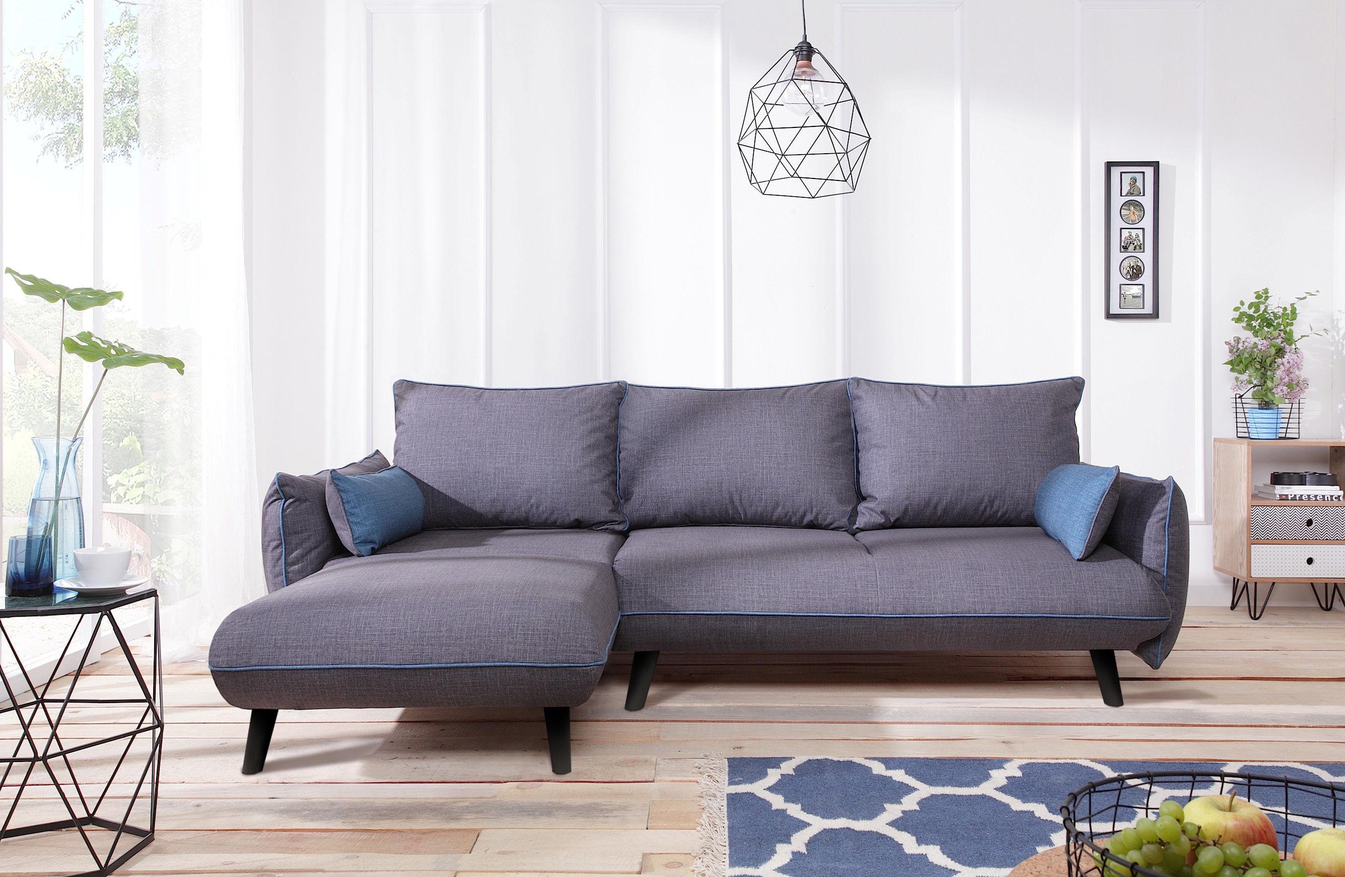 canap bobochic milano 4 places angle gauche gris fonc avec passpoil bleu 94cm x 88cm x. Black Bedroom Furniture Sets. Home Design Ideas