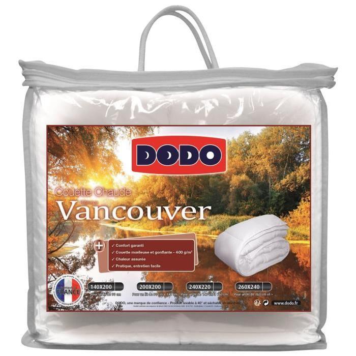 Couette chaude dodo vancouver 220x240 cm 400 g m blanc via l 39 applic - Couette dodo anti acarien 220x240 ...