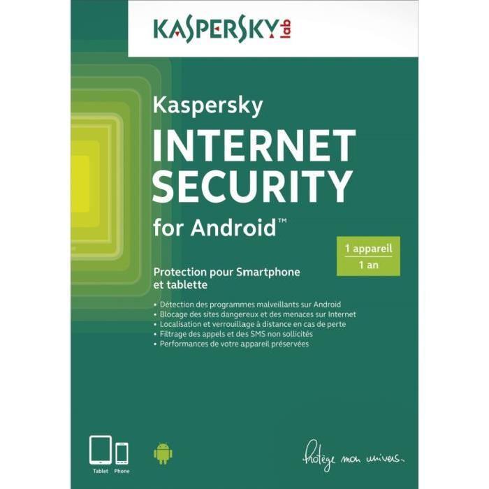 licence d 39 un an au logiciel anti virus kaspersky internet security pour smartphone et tablette. Black Bedroom Furniture Sets. Home Design Ideas
