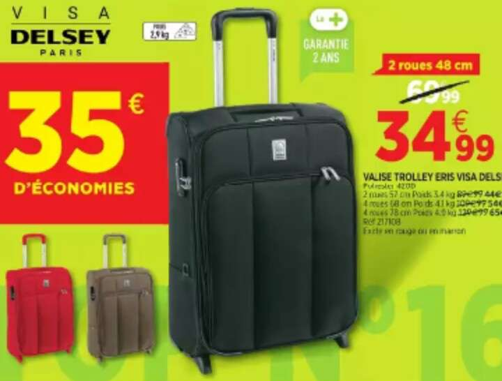 50 sur les valises trolley delsey plusieurs dimensions ex trolley 2 roues 48cm. Black Bedroom Furniture Sets. Home Design Ideas