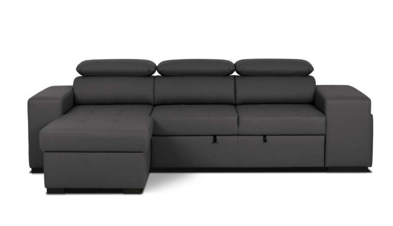 pack flavio canap d 39 angle convertible 4 places lot de 2 poufs noir. Black Bedroom Furniture Sets. Home Design Ideas