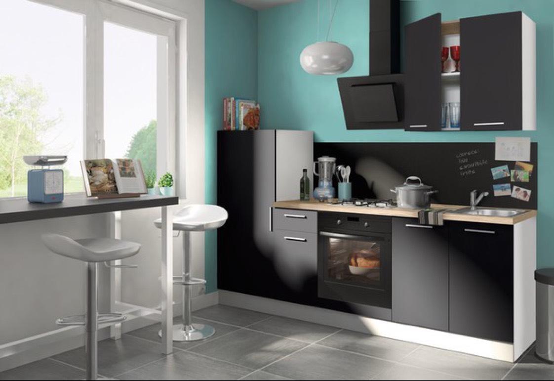 cuisine lucia en kit 2 40m plan de travail gris fonc. Black Bedroom Furniture Sets. Home Design Ideas