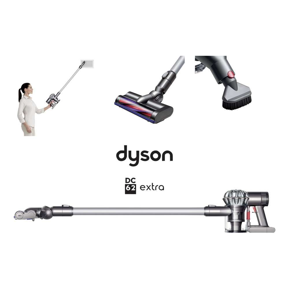 aspirateur balai 3 en 1 dyson dc62 extra via 150 sur la carte. Black Bedroom Furniture Sets. Home Design Ideas