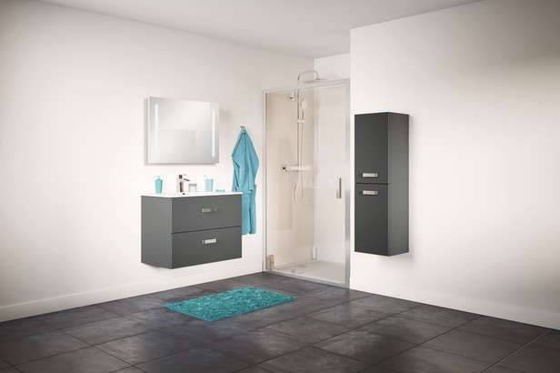 ensemble de salle de bain meuble l 80 cm plan vasque miroir bluetooth. Black Bedroom Furniture Sets. Home Design Ideas