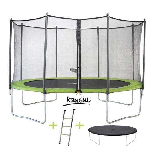 trampoline kangui twin 430 cm avec filet chelle couverture de protection. Black Bedroom Furniture Sets. Home Design Ideas