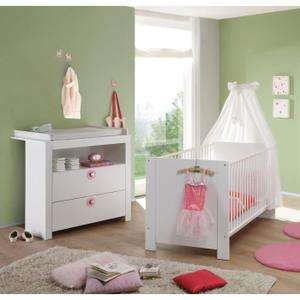Ensemble lit b b commode avec plan langer rose ou for Ensemble lit commode bebe