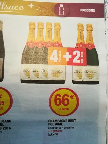 Carton de 6 bouteilles de champagne brut pol aim 75 cl for Super u frignicourt