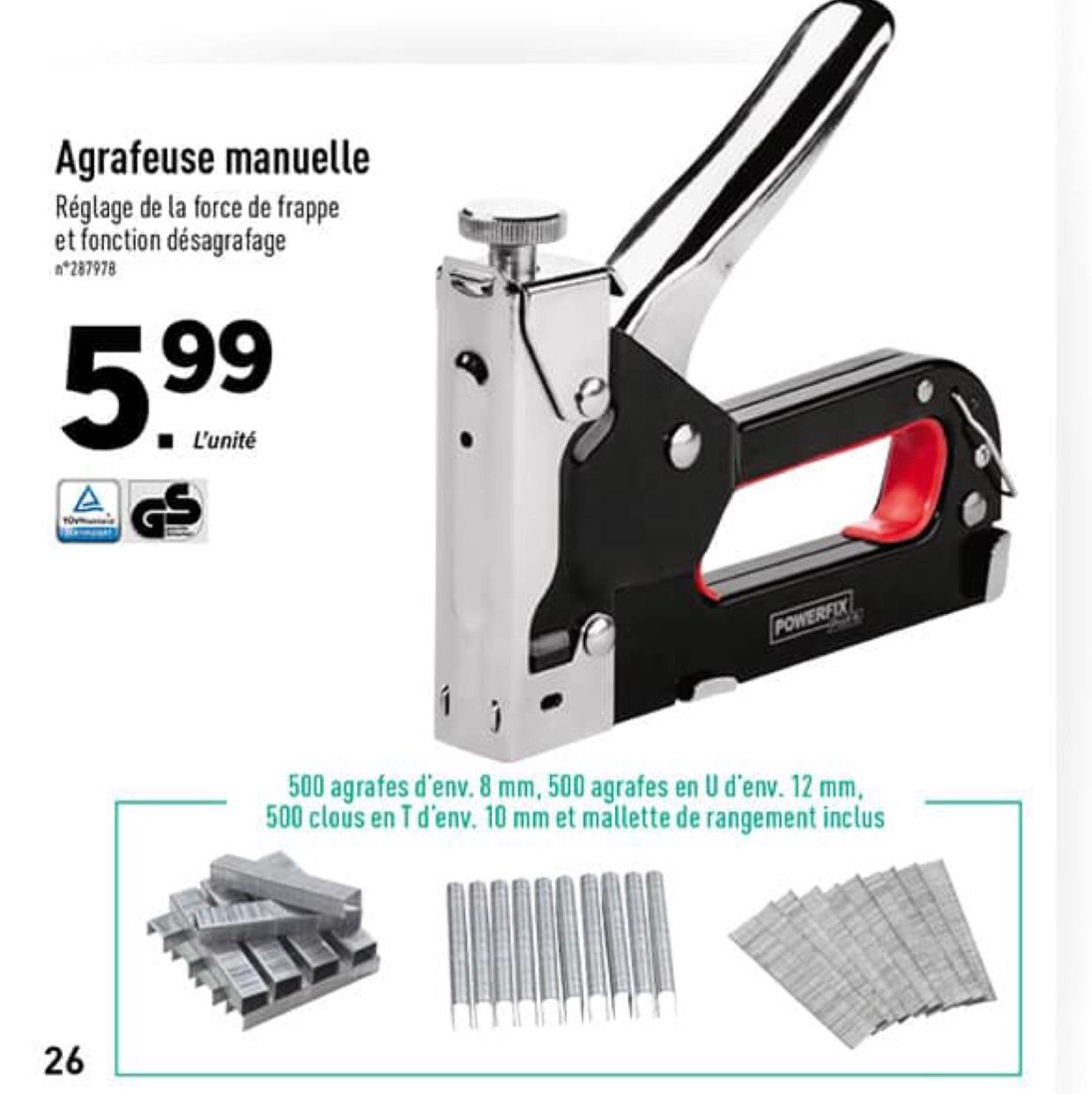agrafeuse manuelle powerfix 500 agrafes 8mm 500. Black Bedroom Furniture Sets. Home Design Ideas