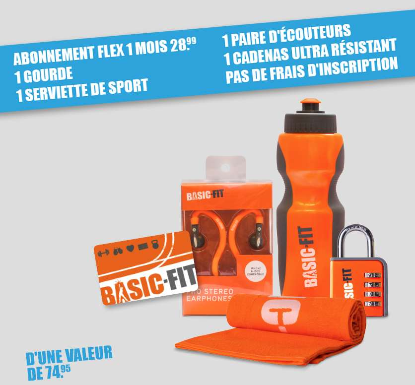 Pack de d marrage basic fit abonnement d 39 un mois flex for Basic fit inschrijven