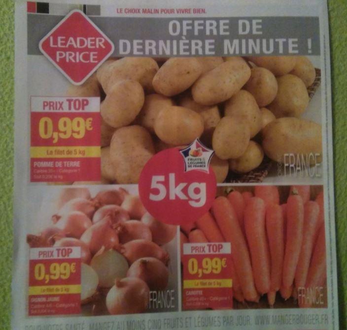 3 sortes de l gumes pommes de terre carottes ou oignons 0 99 les 5kg leader price 33. Black Bedroom Furniture Sets. Home Design Ideas