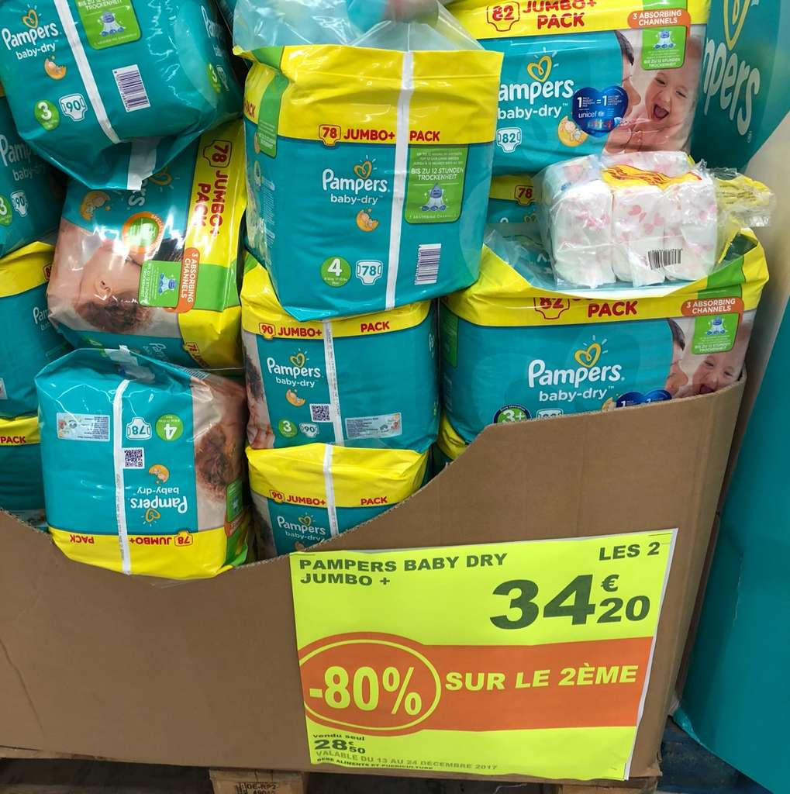 2 paquets de couches pampers baby dry jumbo diff rentes - Combien coute un paquet de couche pampers ...
