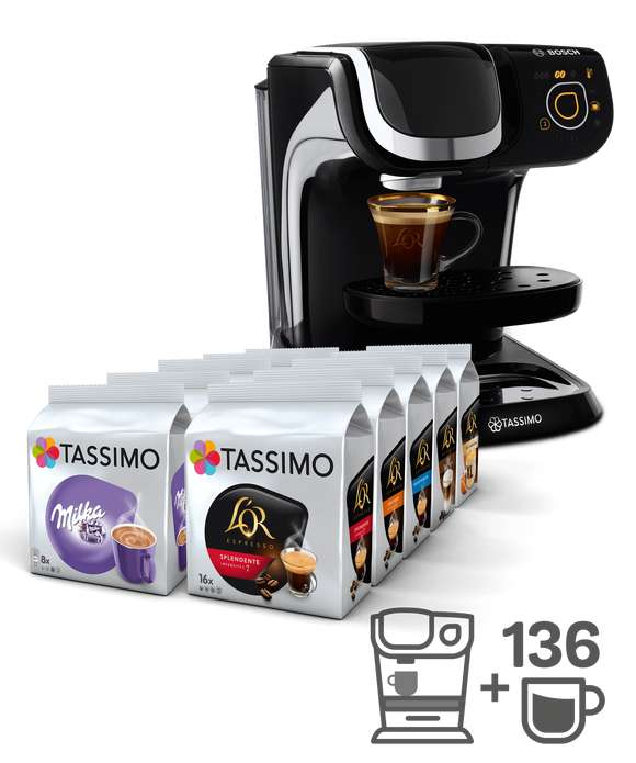 machine caf tassimo my way tas6002 noir 10 paquets de caf chocolat et th. Black Bedroom Furniture Sets. Home Design Ideas