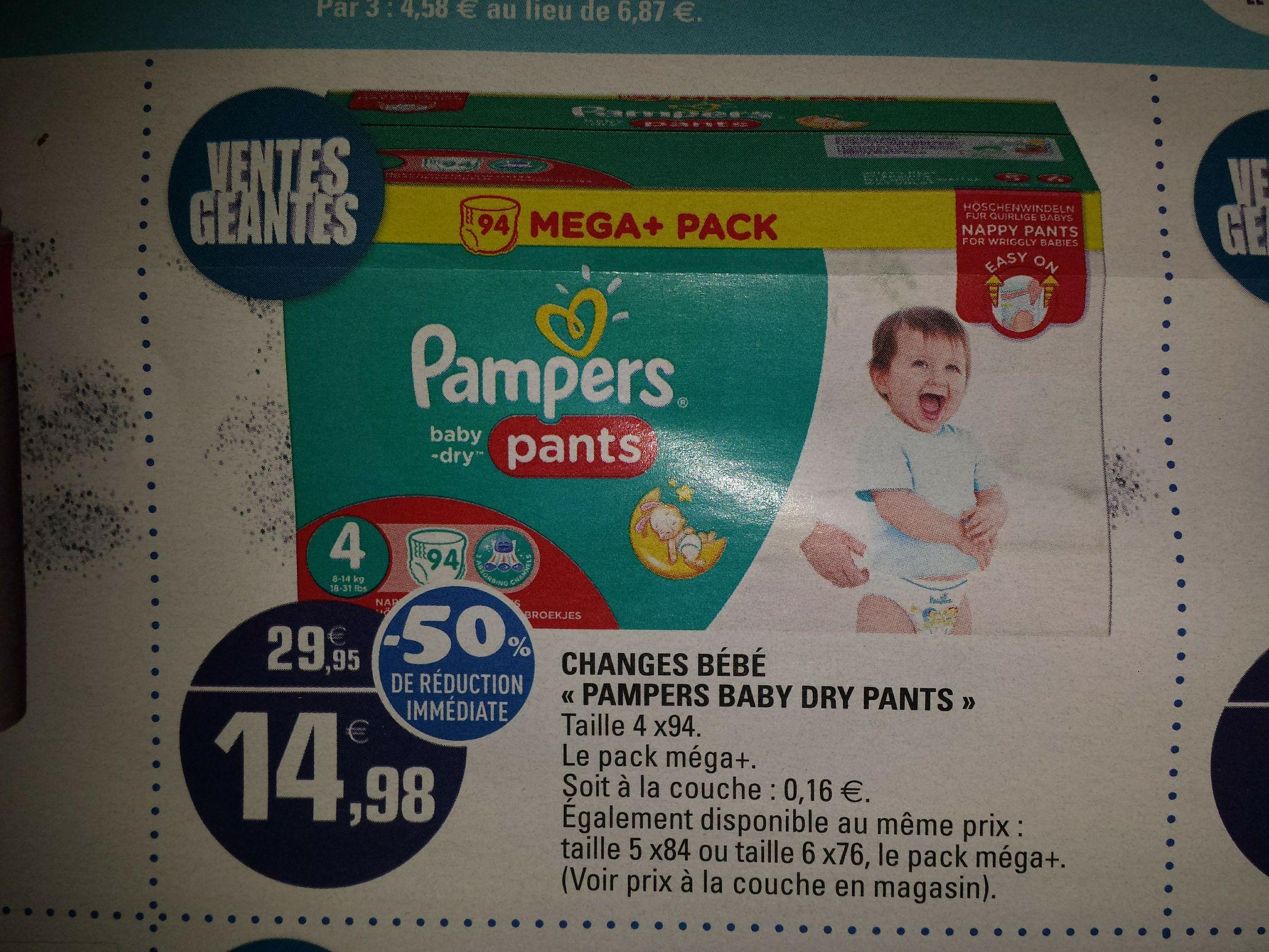 Mega pack de couches culottes pampers baby dry pants tailles au choix via bdr - Prix couches pampers leclerc ...