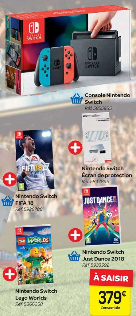 pack console nintendo switch fifa 18 just dance lego worlds ecran de protection. Black Bedroom Furniture Sets. Home Design Ideas