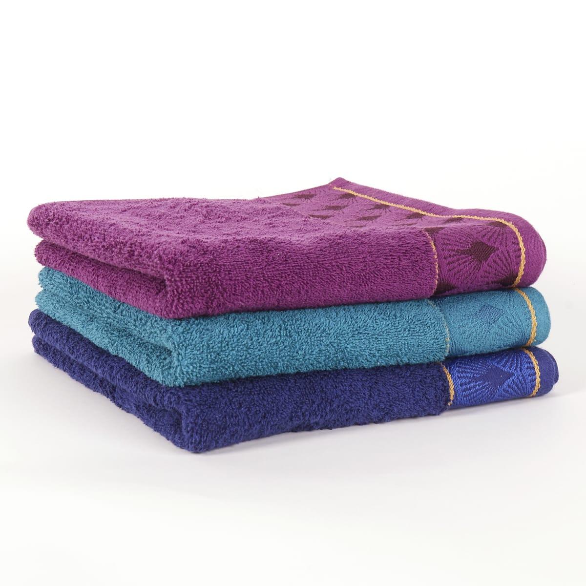 drap de bain actuel jacquard design en coton 70x140 cm diff rents coloris. Black Bedroom Furniture Sets. Home Design Ideas