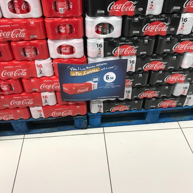 Pack de 18 canettes coca cola simple ou z ro pierry et for Leclerc pierry