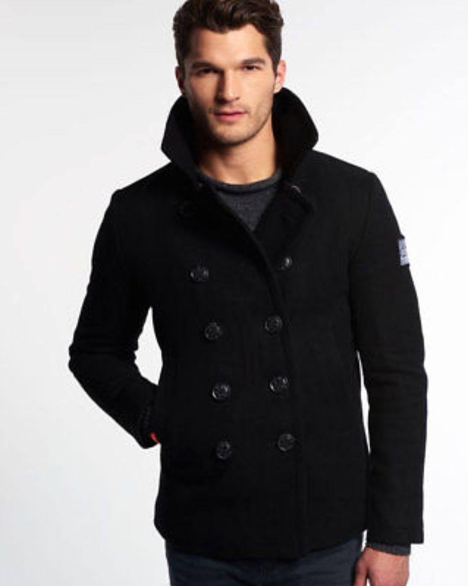 caban homme superdry rookie pea coat noir. Black Bedroom Furniture Sets. Home Design Ideas