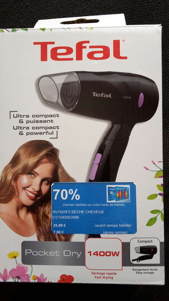s che cheveux ultra compact tefal hv1505f0 via fid lit carrefour bayonne ametzondo. Black Bedroom Furniture Sets. Home Design Ideas