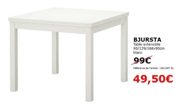 table extensible ikea bjursta en magasin. Black Bedroom Furniture Sets. Home Design Ideas