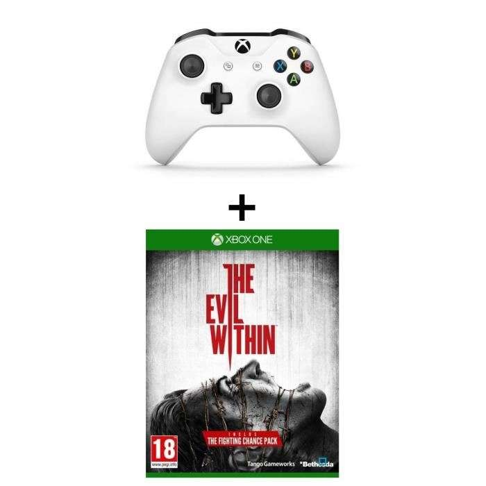 manette xbox one sans fil blanche jeu evil within sur xbox one. Black Bedroom Furniture Sets. Home Design Ideas