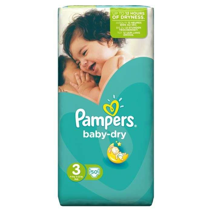 Pack de 50 couches pampers baby dry taille 3 4 9 kg - Carrefour couches pampers ...