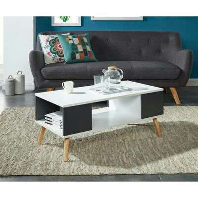 Table basse babette 90x45 cm blanc et gris anthracite for Table basse scandinave gris et blanc