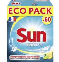 paquet de 60 tablettes lave vaisselle sun tout en 1 via bdr de 1 50. Black Bedroom Furniture Sets. Home Design Ideas