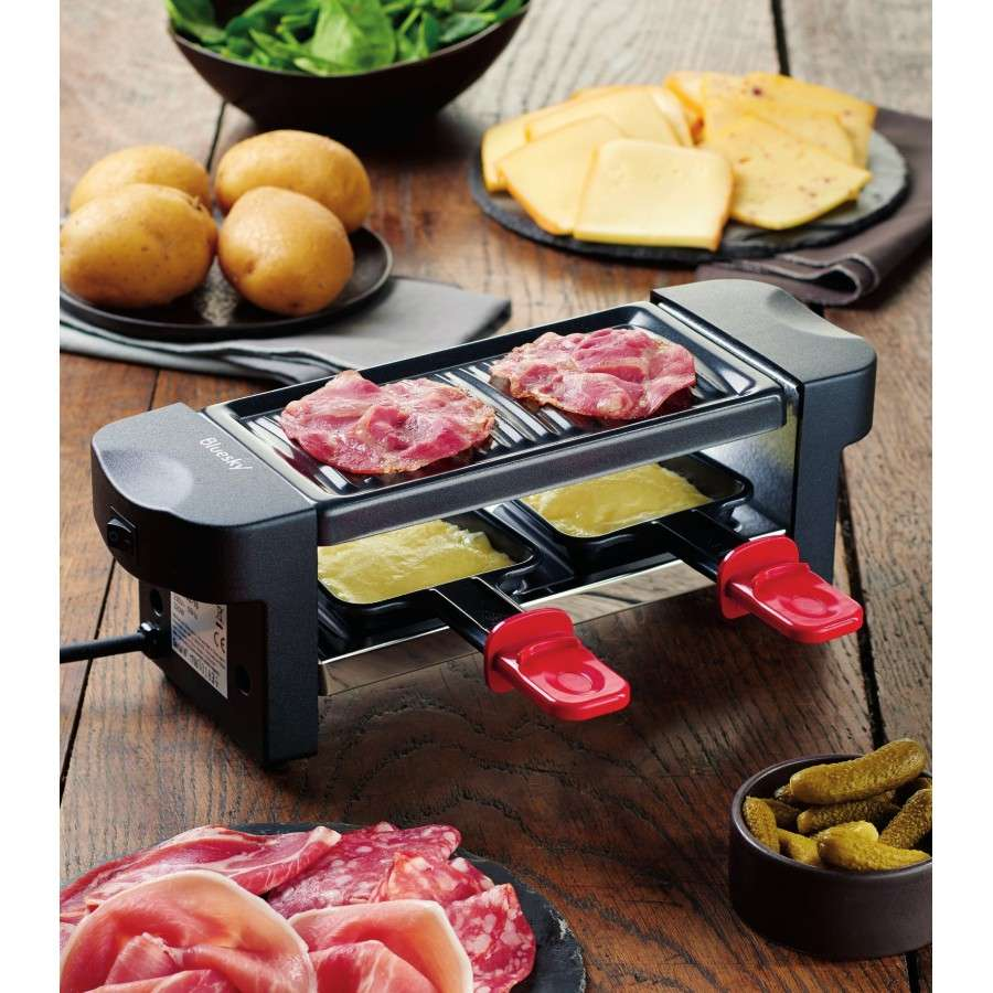 appareil raclette 2 personnes bluesky brg102 16 avec 2 coupelles. Black Bedroom Furniture Sets. Home Design Ideas