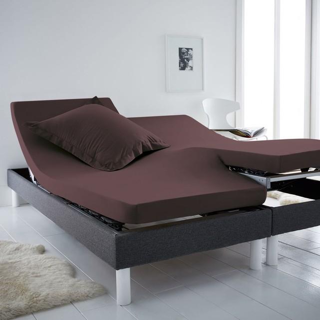 drap housse jersey scenario pour sommiers articul s 160 x 200 cm marron fonc. Black Bedroom Furniture Sets. Home Design Ideas